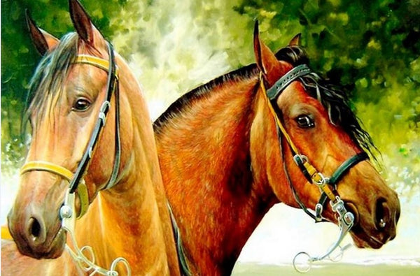 Diamond Painting Two Brown Horses - OLOEE