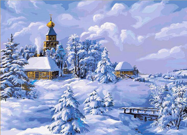 Diamond Painting Village Winter Landscape - OLOEE