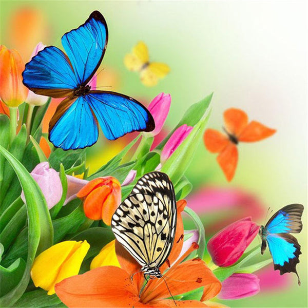 Diamond Painting Butterflies and Flowers - OLOEE