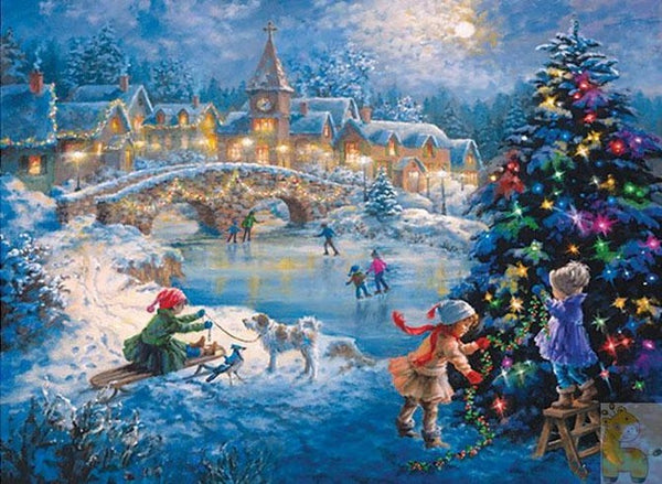 Diamond Painting Children Play In Winter - OLOEE