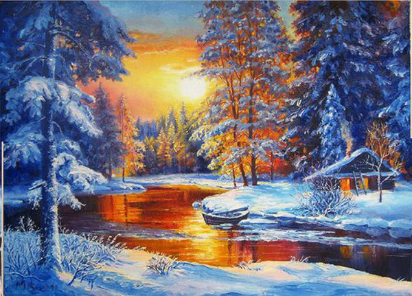 Diamond Painting Winter Forest River Landscape - OLOEE