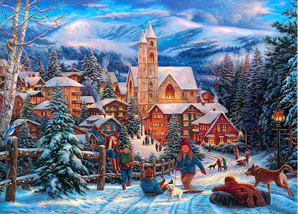 Diamond Painting Winter Fun Village - OLOEE