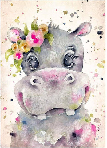 Watercolor Hippo