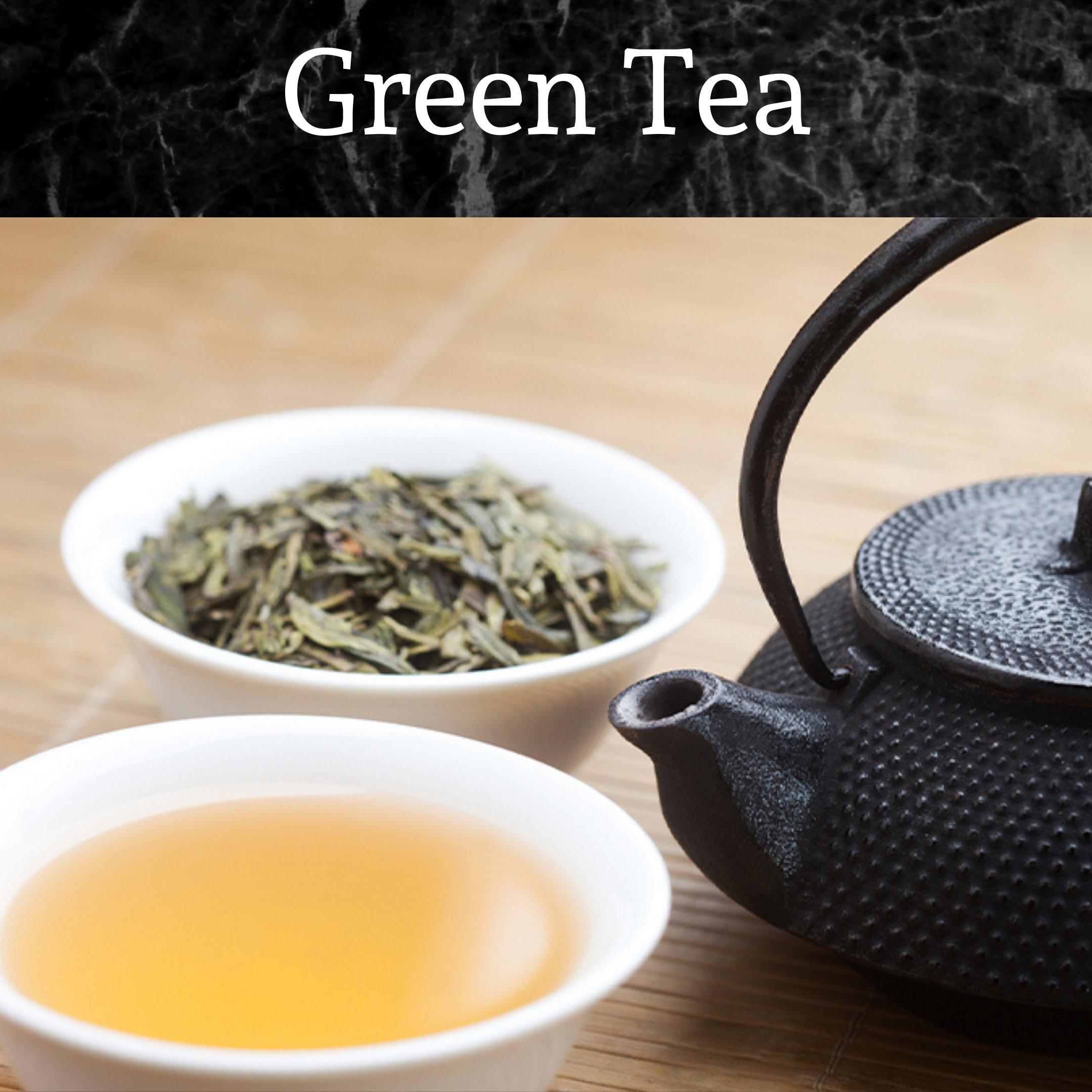 Green tea leaves, brewed tea and a kettle