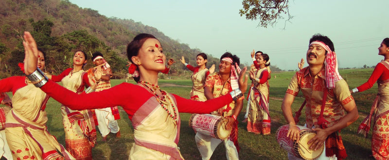 Assam tea festival, women dancing in traditional attire (NO COPYRIGHT INFRINGEMENT INTENDED)