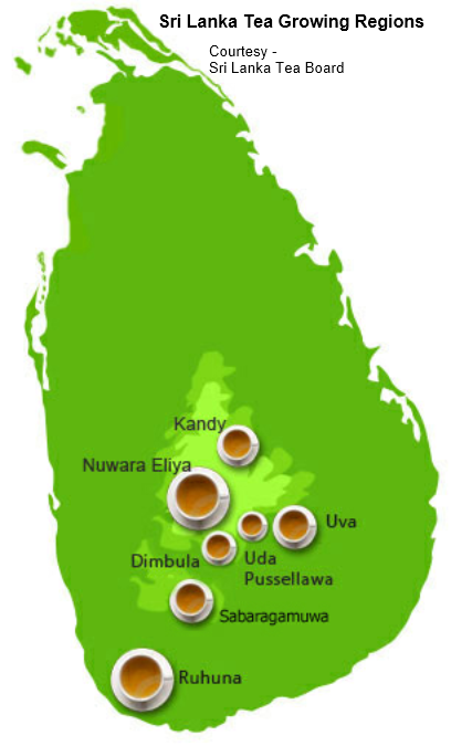 The 7 tea growing regions of Sri Lanka Map