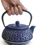 Cast Iron Teapot With Stainless Steel Infuser | 0.8 L / 27 oz | Tea Kettle Maintains Temperature | Non Toxic Vintage Blue Teapot - Freshcarton