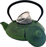 Cast Iron Teapot With Stainless Steel Infuser | 0.75 L / 25 oz | Non Toxic Green Teapot