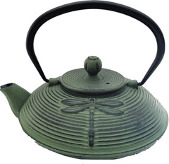 Cast Iron Teapot With Stainless Steel Infuser | 0.75 L / 25 oz | Non Toxic Green Teapot - Freshcarton