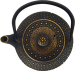 Cast Iron Teapot With Stainless Steel Infuser  |  0.8 L / 27 oz  |  Non Toxic Golden-Black Teapot - Freshcarton