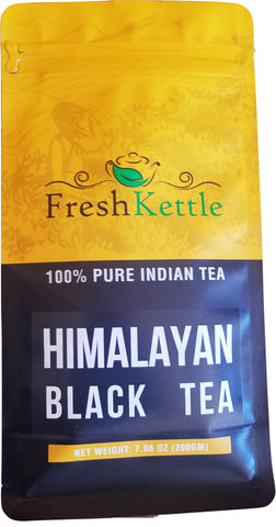 FreshKettle - Himalayan Black Tea | 7.06oz / 200gm | Black Tea loose leaf from Single Estate in Himalayan region | High Energy Teas & Strong Muscatel