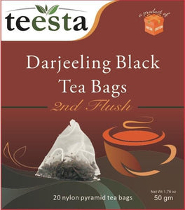 TEESTA - Best Darjeeling Tea Bags | 20 Tea Bags in each pack | High Energy Teas & Strong Muscatel | Premium 100% Unblended Darjeeling Black Tea Leaves - Freshcarton