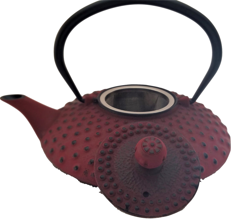 Shimuzu Red Cast Iron Teapot With Stainless Steel Infuser