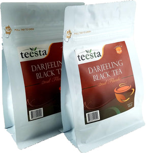 TEESTA Tea - Single Estate Darjeeling 2nd Flush Black Tea Leaves | 7.06oz / 200gm - Pack of 2 (each 3.53oz/100gm) | High Energy Tea & Strong Muscatel 👍