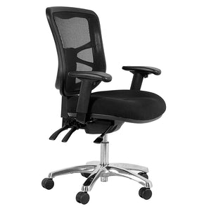 Buro Metro Black Chair Polished Aluminium Base Adjustable Arms