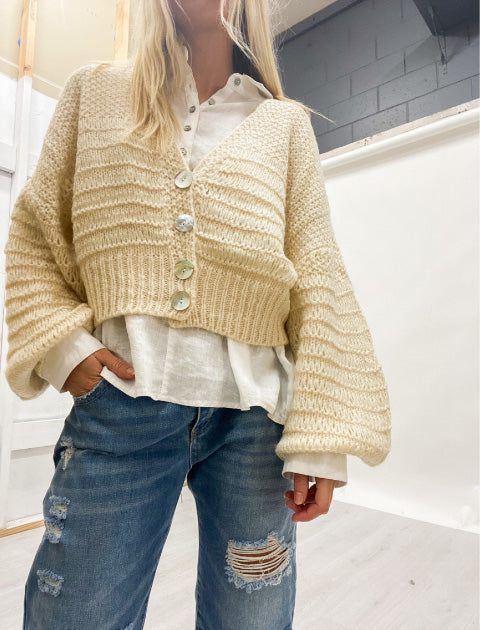 Carry Cardigan with shirt and jeans