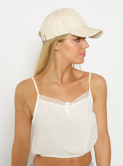 London Suede Cap-NUDE
