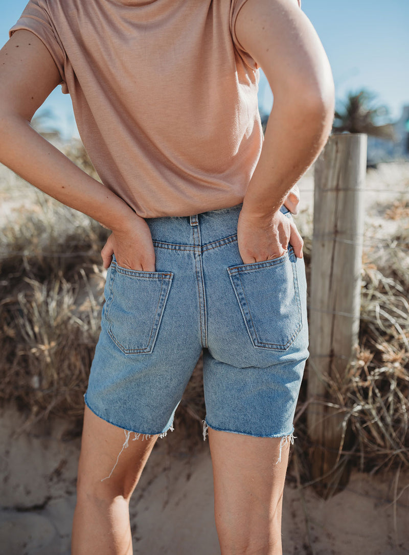 All For You Denim Short-LIGHT BLUE