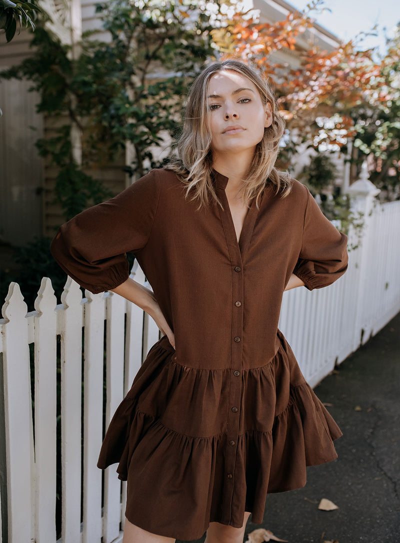 Bodhi Button Smock Dress-CHOCOLATE
