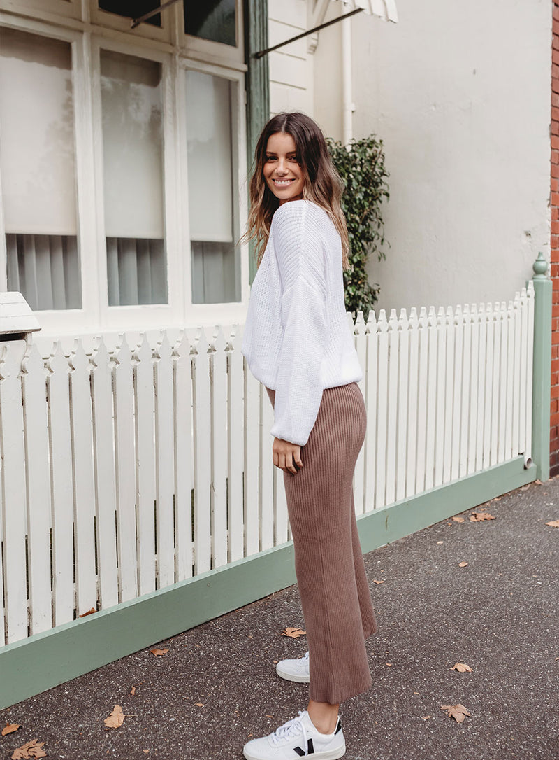 Daria Knit Pant-COFFEE