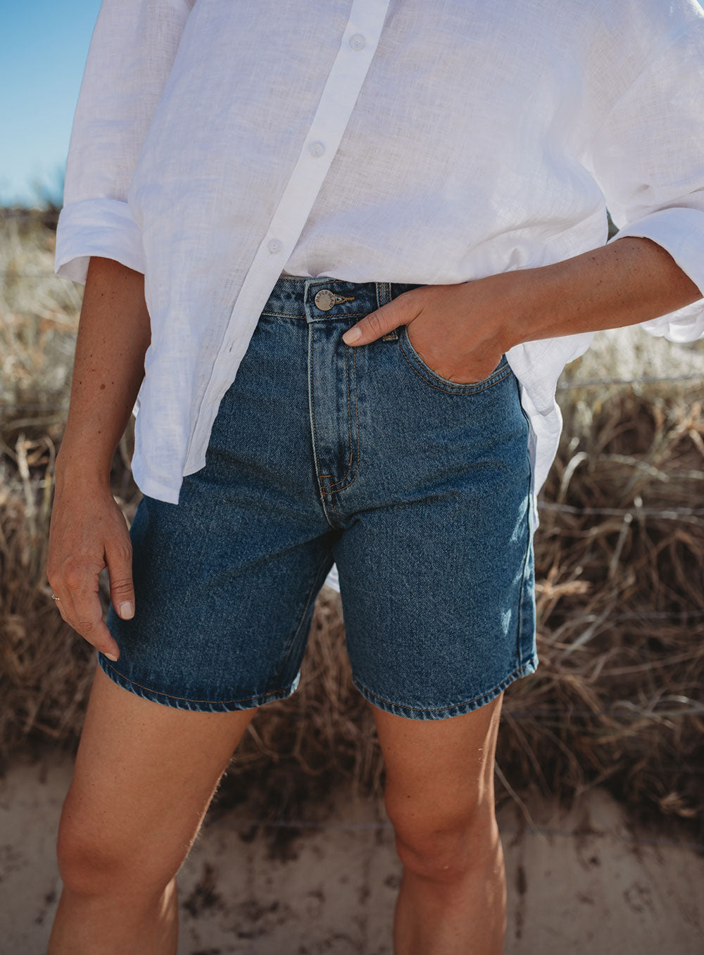 Missing You Denim Short-DARK BLUE