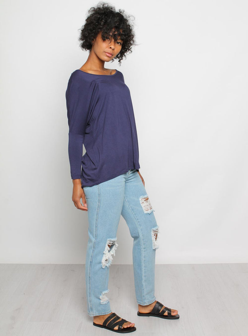 Milan 3/4 sleeve Top-NAVY