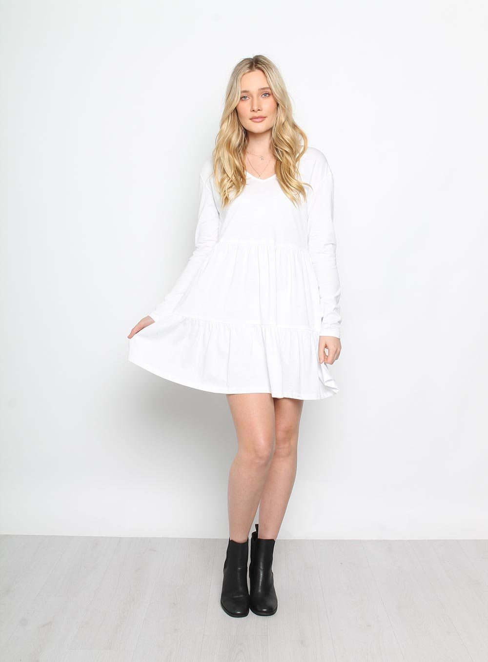 Babydoll Ruffle Dress White