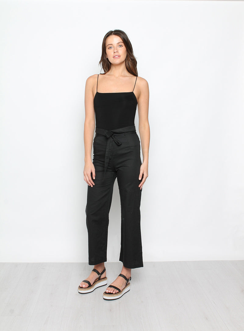 Straight Neck Thin Strap Bodysuit Black