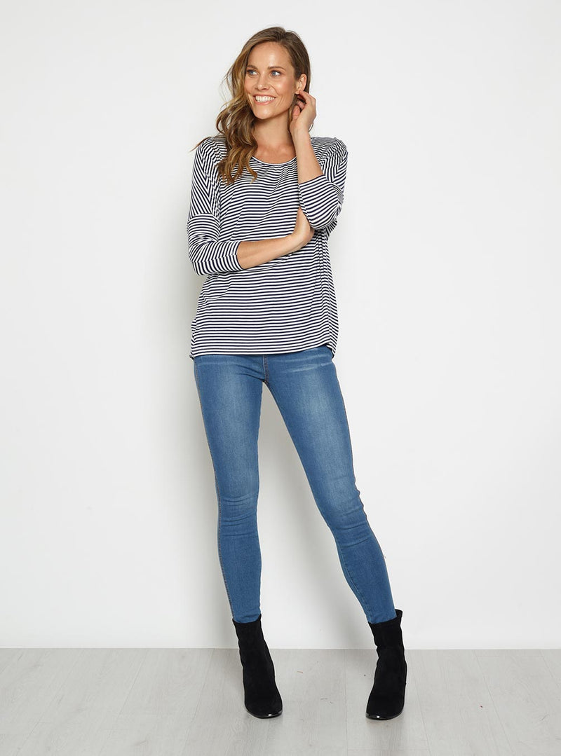 Betty Basics Batwing 3/4 Sleeve Top Navy/White