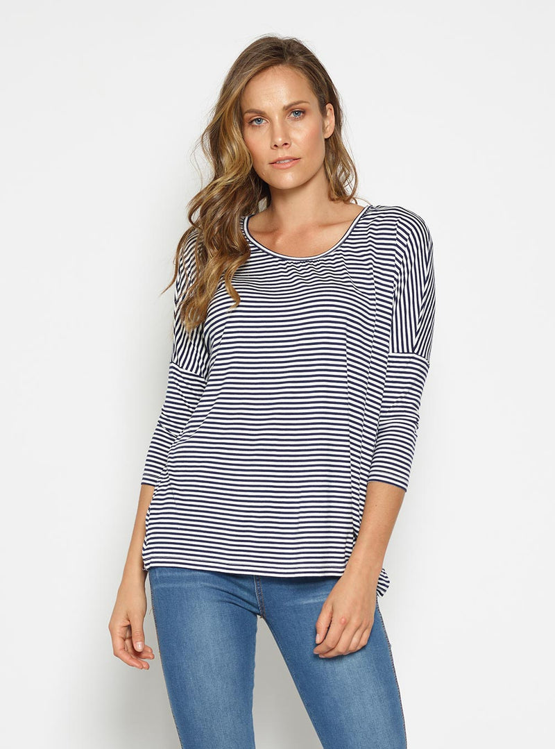 Milan 3/4 Sleeve Top-NAVY-WHITE - Own Kind Australia