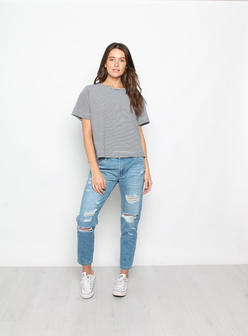 Evie Boxy Tee-NAVY-WHITE - Own Kind Australia