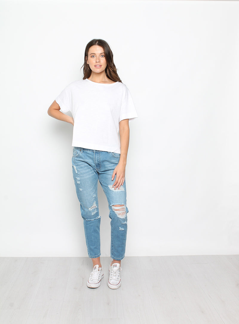 Evie Boxy Tee-WHITE - Own Kind Australia
