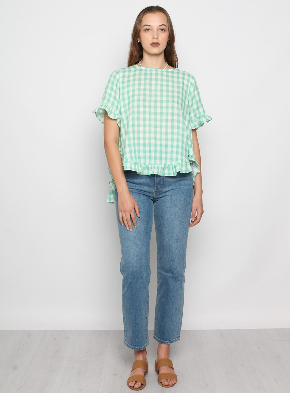 Tristan Gingham top-GREEN