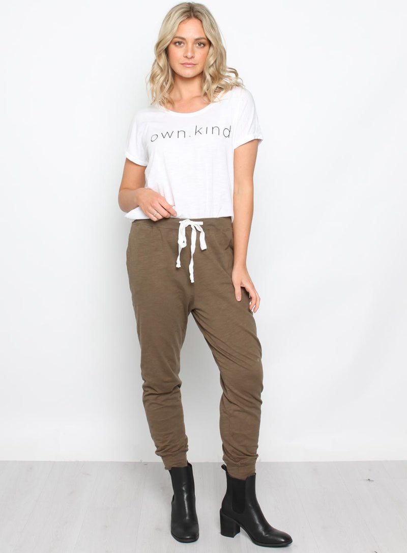 Brooklyn Pant-KHAKI - Own Kind Australia