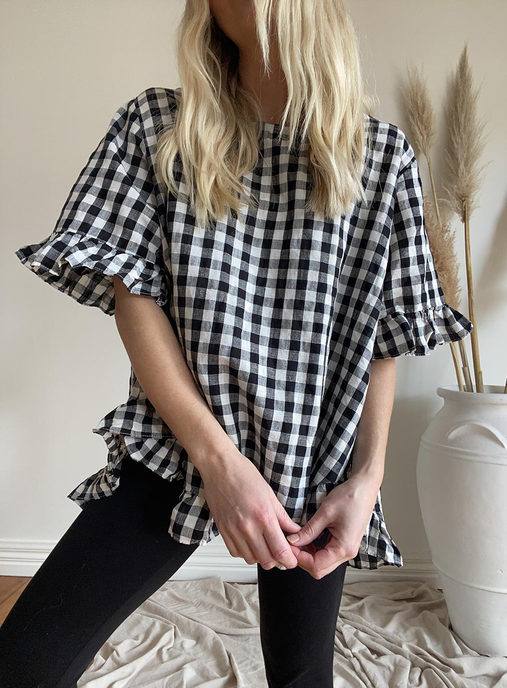 Renee Gingham Top-Black