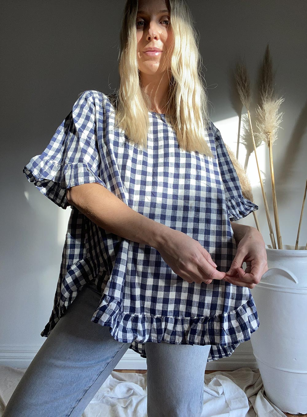 Renee Gingham Top-NAVY