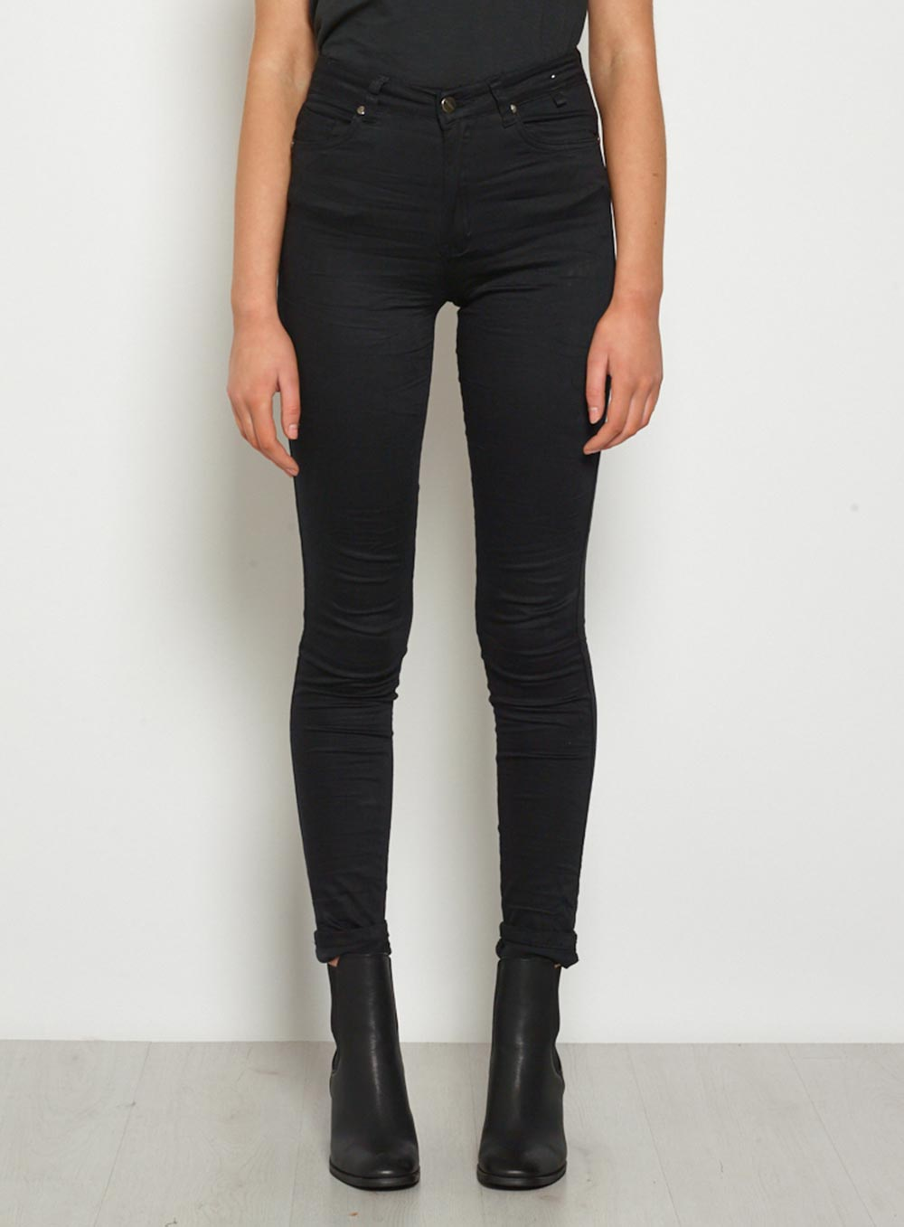 High Waist Stretch Jeans Black