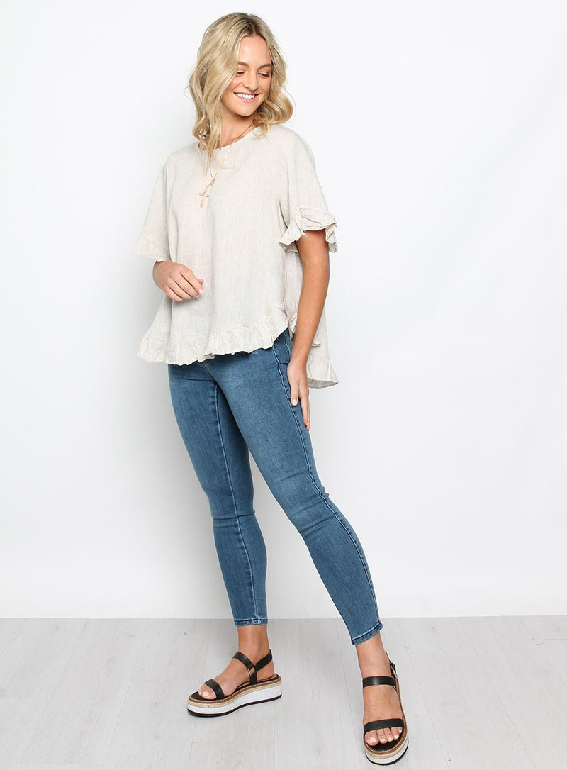 Oversize Button Back Frill Sleeve Top Oatmeal