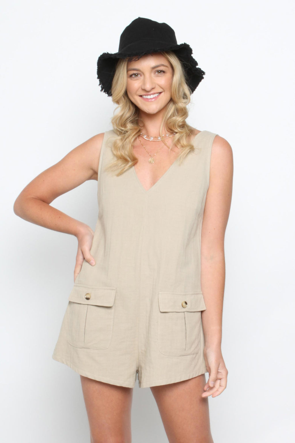 Beating Heart Playsuit-BEIGE - Own Kind Australia