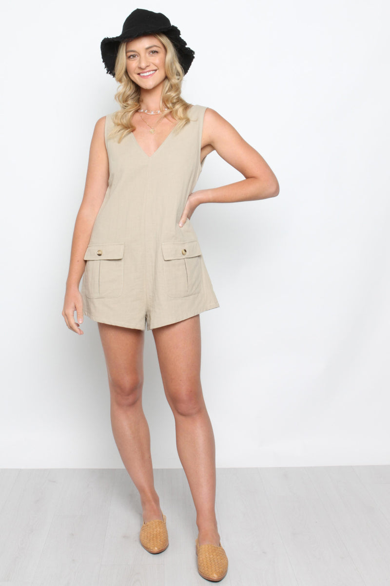 Pocket Playsuit Beige