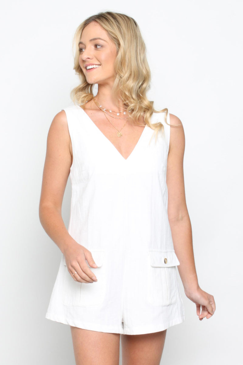 Pocket Playsuit White