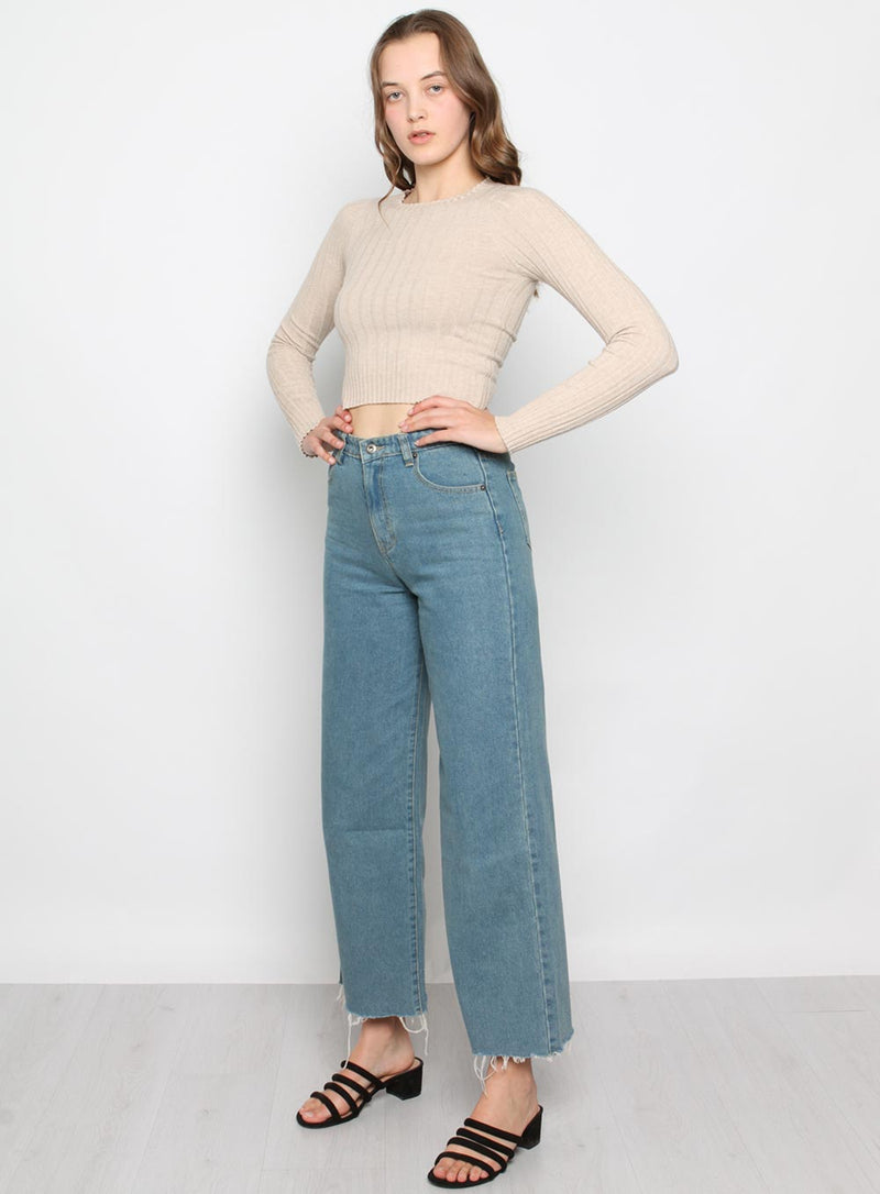 Beth Wide Leg Jean-DARK BLUE