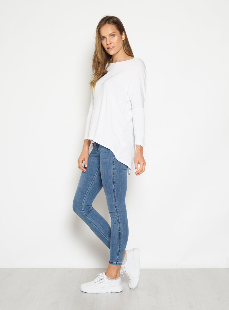 Milan 3/4 Sleeve Top-White - Own Kind Australia
