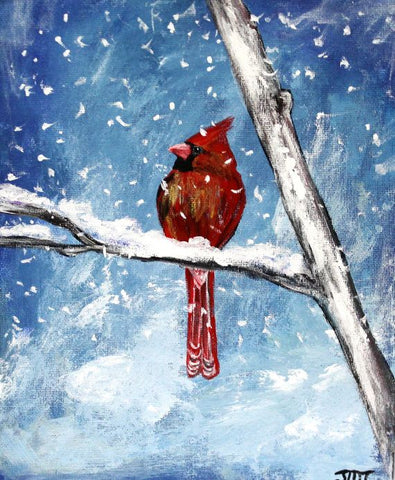 Paint Nite - Winter Cardinal (acrylic canvas) Jan 2020