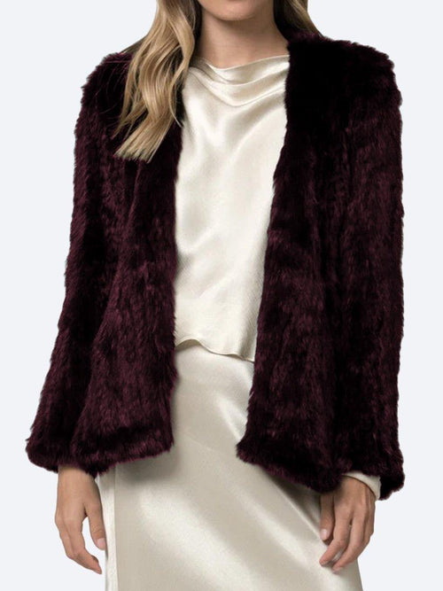 Yeltuor - ARIELLE - Jackets & Coats - ARELLE SIGNATURE WATERFALL JACKET - WINE -  S