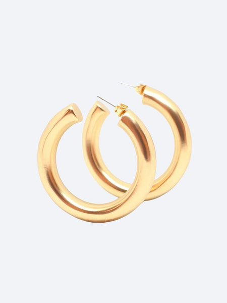 Yeltuor - BLING BAR - Accessories & Shoes - BLING BAR CICCIOLINA HOOPS MATTE GOLD -  -