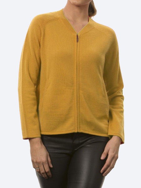Yeltuor - BRIDGE AND LORD - Knitwear - BRIDGE & LORD MERINO/CASHMERE ZIP FRONT JACKET - MUSTARD -  S
