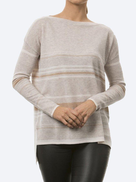 Yeltuor - BRIDGE AND LORD - Knitwear - BRIDGE & LORD STRIPE BOAT NECK KNIT - CAMEL -  S