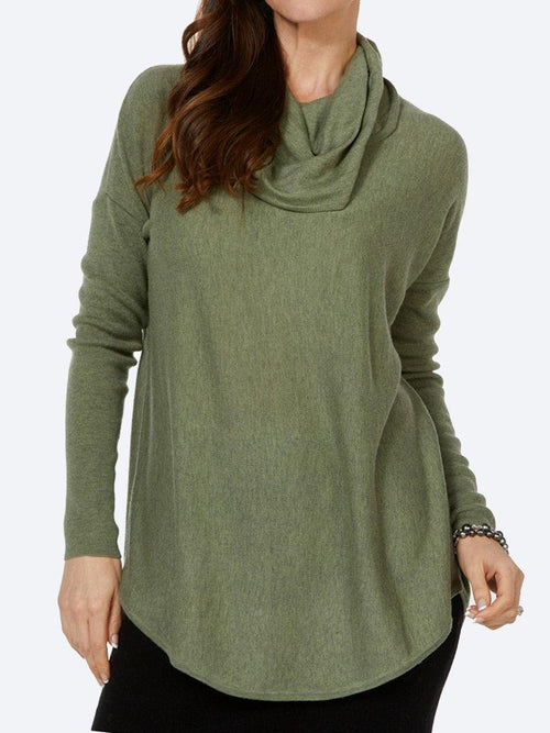 Yeltuor - BRIDGE AND LORD - Knitwear - BRIDGE & LORD SHAPED TUNIC WITH COWL NECK - GREEN -  S