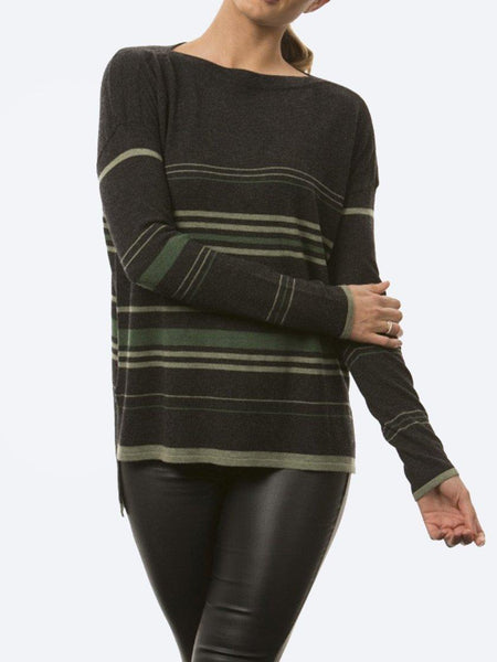 Yeltuor - BRIDGE AND LORD - Knitwear - BRIDGE & LORD STRIPE BOAT NECK KNIT - GREEN -  S